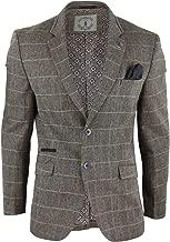 CAVANI Mens Oak Brown Vintage Check Herringbone Tweed Blazer Jacket or Waistcoat Retro Oak-Brown 36