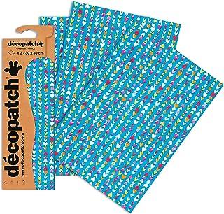 Décopatch C410O - Une pochette de 3 feuilles de papier imprimé 30x40 cm, Tiny hearts
