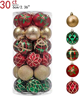 Valery Madelyn 30ct 60mm Country Road Red Green and Gold Shatterproof Christmas Ball Ornaments Decoration,Themed with Tree Skirt(Not Included)