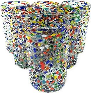 Hand Blown Mexican Drinking Glasses – Set of 6 Confetti Rock Design Glasses (14 oz each)