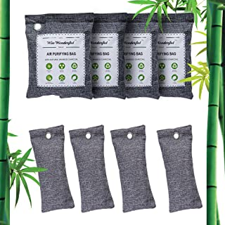 Bamboo Charcoal Air Purifying Bags, 8 Pack Nature Fresh Air Purifier Bags, Odor Absorber Air Freshener for Home, Car, Clos...