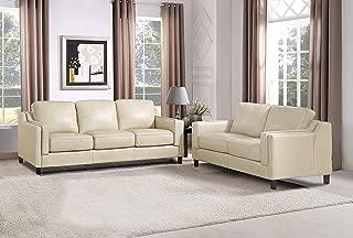 Hydeline Bella 100% Leather Set, Sofa and Loveseat, Ivory