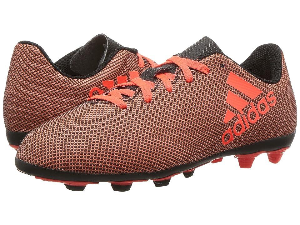 adidas Kids X 17.4 FxG J Soccer (Little Kid/Big Kid) (Black/Red/Orange) Kids Shoes