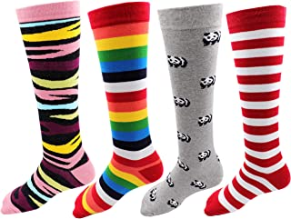 RC. ROYAL CLASS Women's Multicolored Knee length Cotton Socks(Pack fo 4 Pairs)