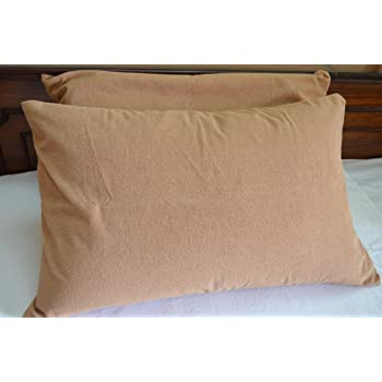 Trance Home Linen Cotton Waterproof and Dustproof Pillow Protector (Brown; 18 x 28 Inch)