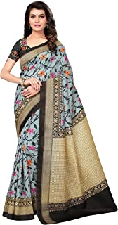 OOMPH! Art Silk Saree with Blouse Piece_Sapphire Blue_Free Size
