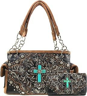 Autumn Flowers Turquoise Cross Western Conceal Carry Handbag Wallet Set