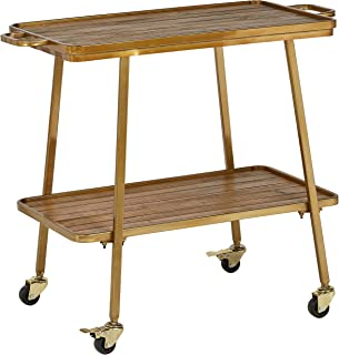 Rivet Modern Wood Kitchen Rolling Bar Cart with Wheels, 28 Inch Height, Gold