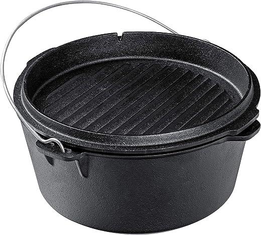 Ribelli BBQ Dutch Oven ca. 9,5 Liter aus schwarzem Gusseisen - inkl. vielseitigem Deckel - mit Henkel zum Tragen und Stützfüßen - Gusseisen Topf