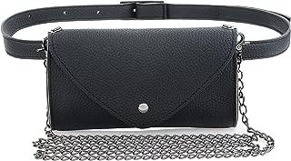 Women's Fashion Elegant Leather Black Waist Fanny Belt Crossbody Pack Bags With Purse Pocket Stylish For Girls Women