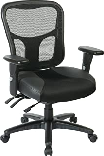 Office Star Breathable ProGrid Back with Leather and Mesh Seat Adjustable Black Managers Chair and Nylon Base