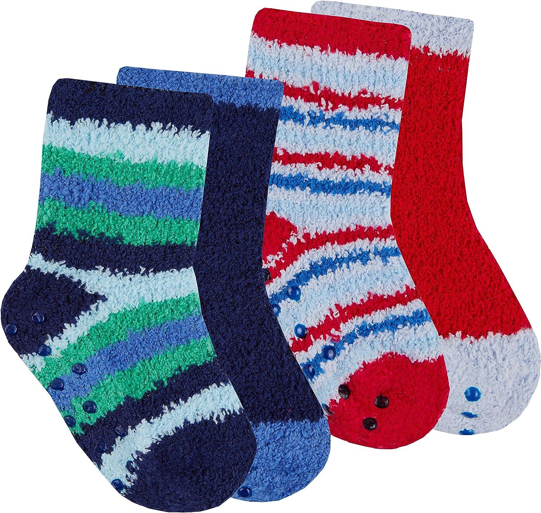 Newborn Baby Boys 4 Packs Socks Anti Slip Non Skid Warm Bundle Size 0-5.5