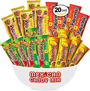 Pulparindo Mexican Candy Snack Mix (20 Count) - Comes In Tamarind, Hot, Mango, Sandia Watermelon, Assortment Of Flavors From De La Rosa DLR Makes A Great Snacks Pack By MTC