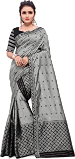 SKiran's Assamese Machine-Weaving Poly Silk Mekhela Chador Saree - Dn7148 Mekhla Sador (Grey & Black)