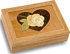 MarqART Wood Art Rose Box - Handmade in USA - Unmatched Quality - Unique, No Two are The Same - Original Work of Wood Art. A Rose Gift, Ring, Trinket or Wood Jewelry Box (#4141 Heart Rose 4x5x1.5)