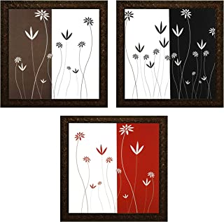 Indianara Set of 3 Abstract Flowers and Stem Framed Wall Hanging Laminated Paintings Matt Art Prints 9 inch x 9 inch each ...