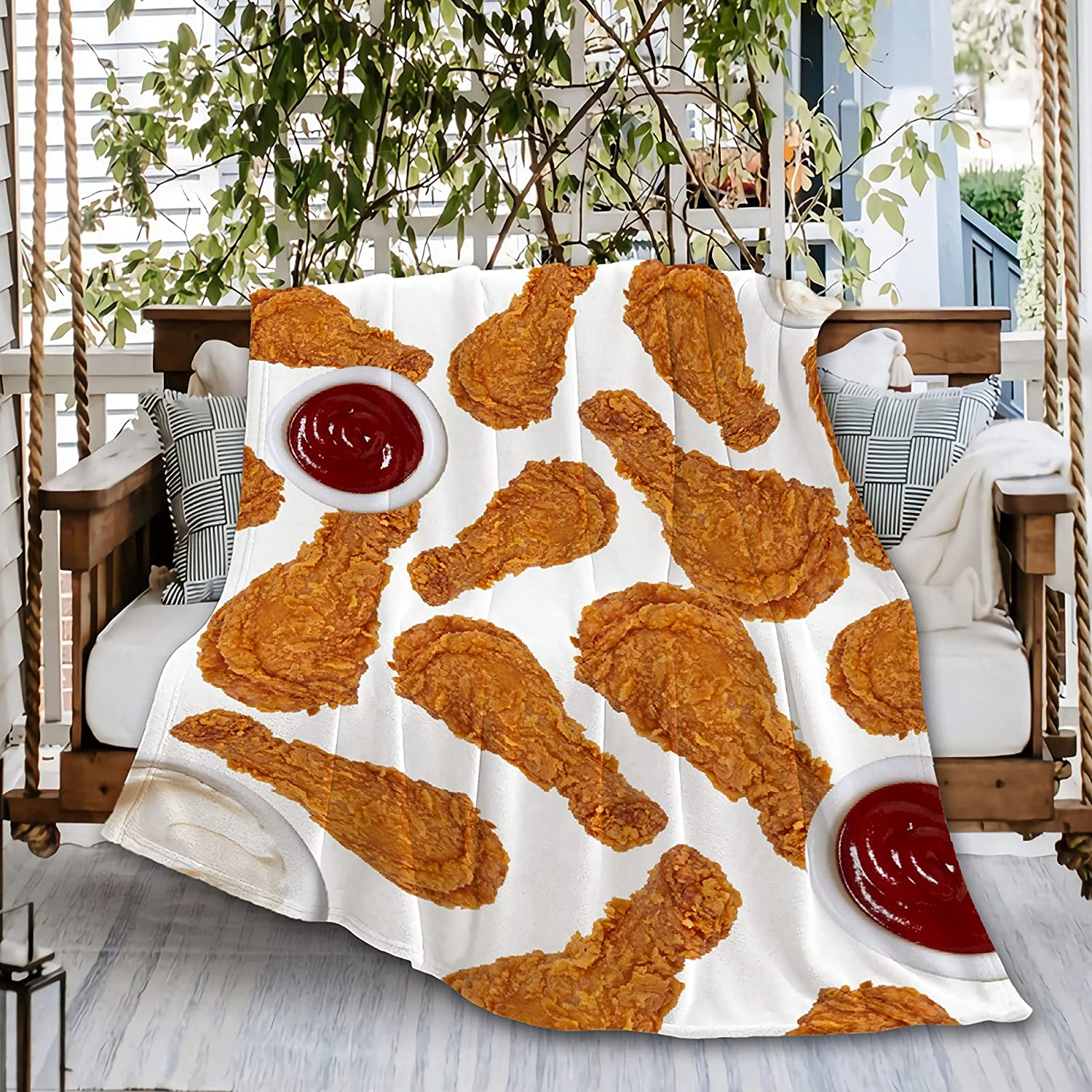 Fried Chicken Le-g Chicken Nuggets Junk Food Ultra Soft Flannel Fleece Throw Blankets, Microfiber Comfort Light Weight Outdoor Moving Cover for Beach Picnic Couch Small 50