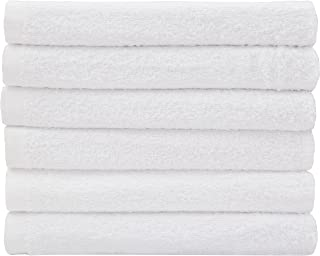 Hotel-Spa-Pool-Gym Cotton Hair & Bath Towel - 6 Pack, White, Super Soft, Easy Care, Ringspun Cotton for Maximum Softness and Absorbency (22