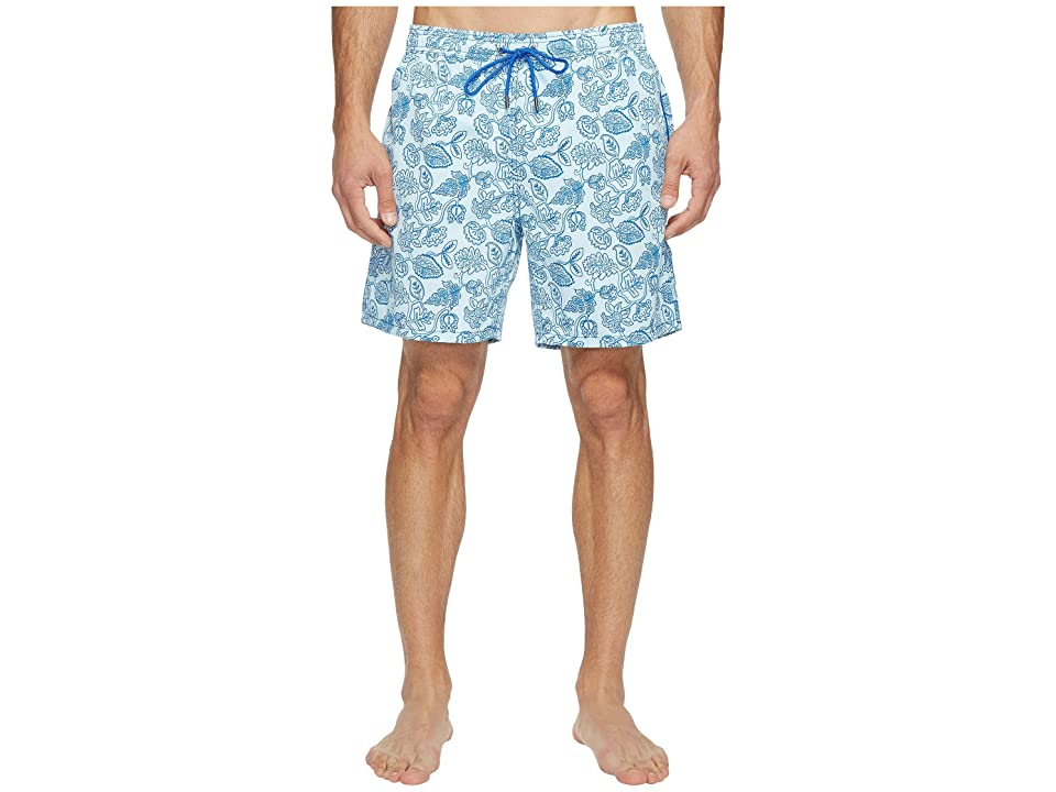 Mr. Swim Leafy Floral Printed Dale Swim Trunk (Blue) Men
