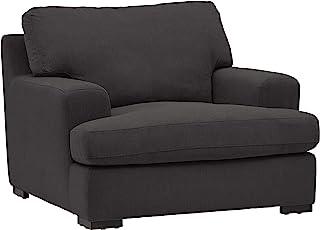 "Amazon Brand – Stone & Beam Lauren Down-Filled Oversized Living Room Accent Armchair, 46""W, Pepper"