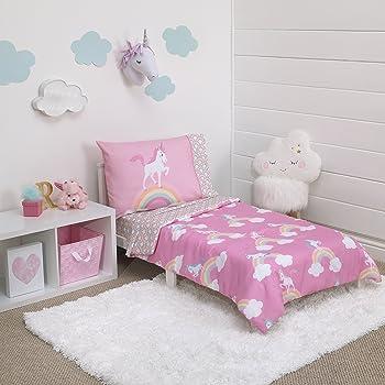 Everything Kids Little Tikes Rainbow Unicorn 4 Piece Toddler Bedding Set, Pink
