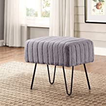 Home Soft Things Super Mink Ottoman Bench, 19 x 13 x 17, Charcoal