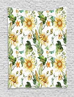 Ambesonne Sunflower Decor Collection, Sunflowers and Corn Pattern Agriculture Rural Plants Nature Cultivating Close Up Design, Bedroom Living Room Dorm Wall Hanging Tapestry, Soft Green Yellow