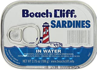 Beach Cliff, Sardines in Soybean Oil, 3.75oz Can (Pack of 6)