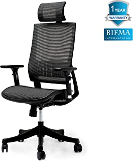 Ergonomic Chair Adjustable Office Chair Mesh Chair with Smooth Wheels, Mesh Breathable Cushion, Adjustable High Backrest, 3D Multi-Function Handrests and Headrest