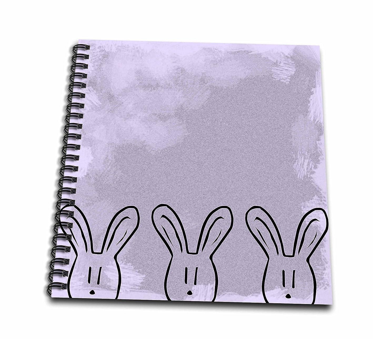 はぁやさしい差し控える(8x8 drawing book) - PS Creations - Three Bunnies - Pastel Purple - Cute Art - Drawing Book