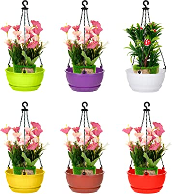 Generic 6 PCS Hanging Baskets Rattan Woven Flower Pot Plant Pot with Hanging Chain for Houseplants Garden Balcony Decoration in Multicolor (Plastic Chain)