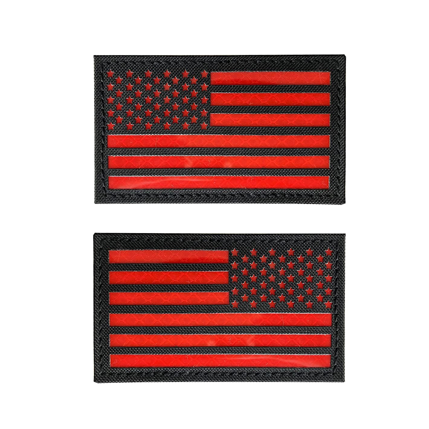 2x3.5 Reflective Black Red US USA American Flag Morale Tactical Patches Hook-Fastener Backing (Forward+Reversed)