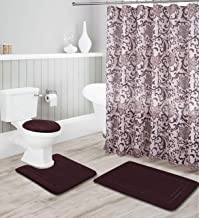 Kids Zone Home Linen Coffee/Brown 16pc Bathroom Accessory Set - Non-Slip Bath Mat, Non-Slip Contour Mat, Toilet Lid Cover and Waterproof Shower Curtain with Rustproof Metal Roller Hooks