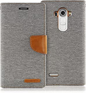 LG G4 Case, [Drop Protection] GOOSPERY Canvas Diary [Denim Material] Wallet Case [ID Credit Card and Cash Slots] with Stand Flip Cover for LG G4 (Gray) G4-CAN-Gry