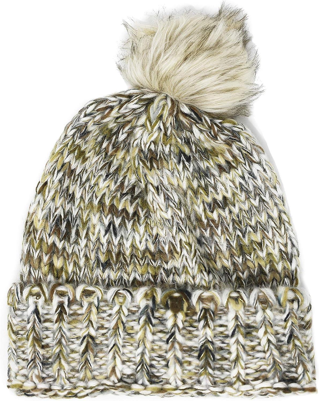 Lucky Brand Women's Faux Fur Pom Pom Metallic Beanie Hat