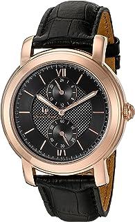 Lucien Piccard Men's 'Spiga' Quartz Stainless Steel and Leather  Watch, Color:Black (Model: LP-40026-RG-01)
