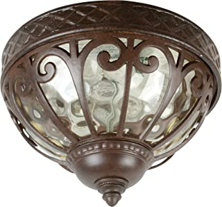 Craftmade Z3837-98 Outdoor Flush Mount Light with Hammered Glass Shades, Bronze Finish