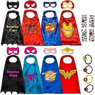 Disfraz De Superhéroes para Niño - Regalos De Cumpleaños para Niña - 8 Capas Y Máscaras - Juguetes para Niños Y Niñas - Logo Brillante de Wonder Woman y Spiderman
