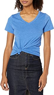 French Toast Junior's Juniors Short Sleeve V-Neck Tee, Princess Blue Heather, M