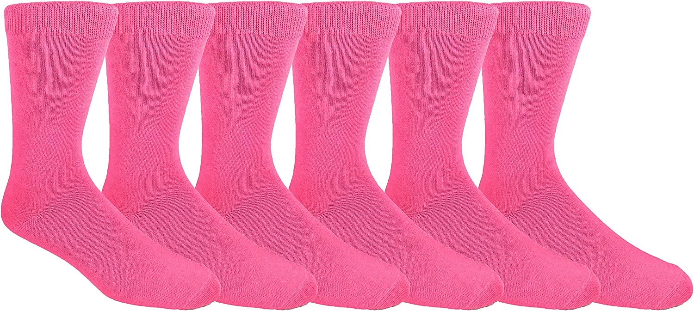 MOXY Socks 6-Pack Pink Running Buddy Premium Dress Crew Socks