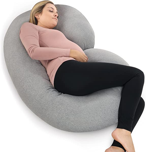 PharMeDoc Pregnancy Pillow With Jersey Cover C Shaped Full Body Pillow Available In Grey Blue Pink Mint Green