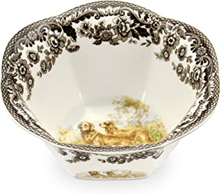 Spode Woodland Hunting Dogs Nut Bowl with Golden Retriever