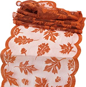 Korlon Fall Table Runner, Thanksgiving Maple Leaves Table Runner, 13 x 72 Inch Fall Harvest Lace Table Decor for Festival Party and Daily Use