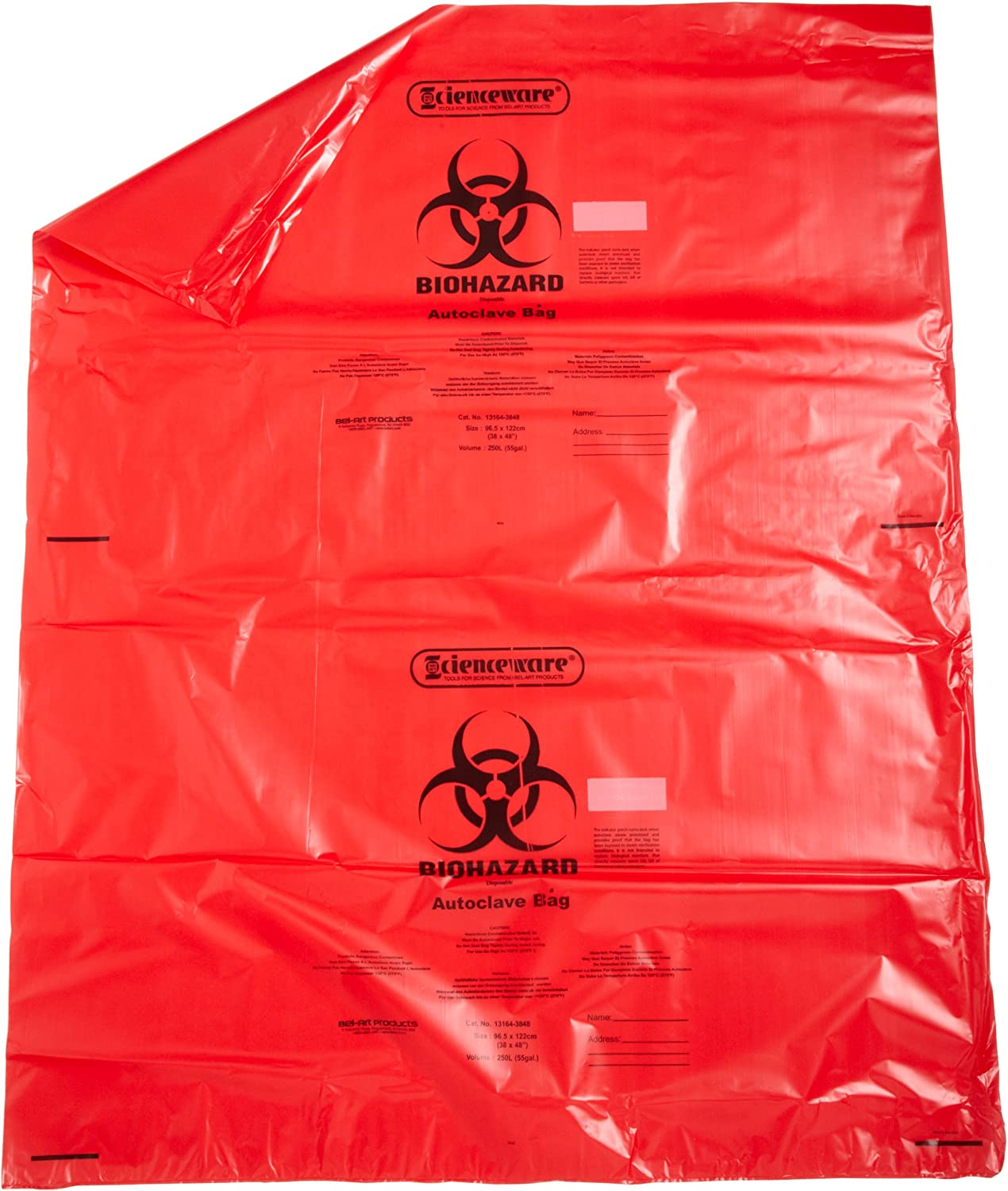 San Jose Mall SP Bel-Art Red Biohazard Disposal Steril Max 84% OFF Bags Warning with Label