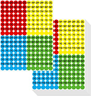 3840 PCs Garage Sale Flea Market Prepriced Pricing Stickers in Bright Colors (Yellow/Red/Green/Cyan), 3/4