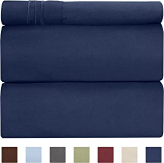 Twin Size Sheet Set - 3 Piece - Hotel Luxury Bed Sheets - Extra Soft - Deep Pockets - Easy Fit - Breathable & Cooling - Wrinkle Free - Comfy – Navy Blue Bed Sheets – Twins Royal Sheets - 3 PC