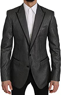Dolce & Gabbana Gray Striped Martini Slim Blazer Jacket