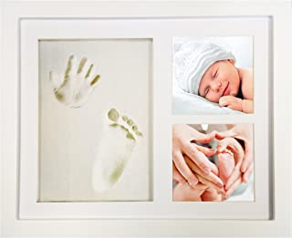 "White Clay Hand/Footprint Photo Frame for Babies, Kids, and Pets – Includes 9"" x 11"" Colored MDF Wood Photo Frame, Roller, Mounting Hardware, and Instructions -""Pose""ies"