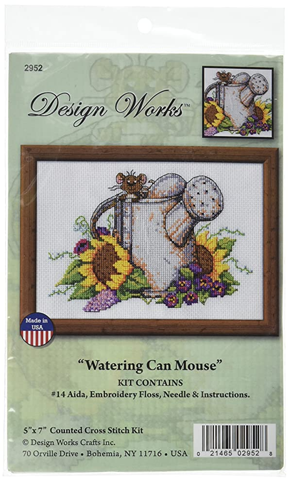 Tobin 2952 14 Count Watering Can Mouse Mini Counted Cross Stitch Kit, 5