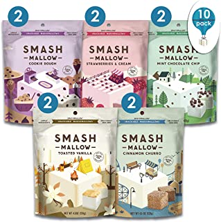 S'more Better Variety Pack By SMASHMALLOW | Snackable Marshmallows | Non-GMO | Organic Cane Sugar | Pack Of 10 (4.5 Ounces per Pack)